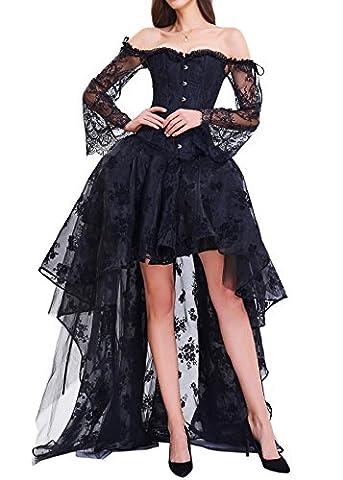 Burvogue Women's Gothic Bustiers Steampunk Halloween Corset Dress High Low Lace Skirt Costume (S,