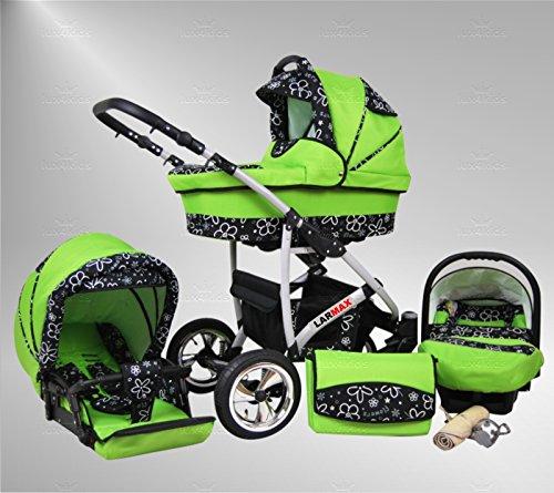 True Love Larmax Kinderwagen Safety-Set (Autositz & ISOFIX Basis, Regenschutz, Moskitonetz, Schwenkräder) 97 Frogger & Green Flowers