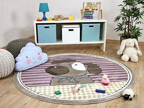 Maui Kids - Tapis pour enfant rond - motif chien violet pourpre - 2 tailles disponibles