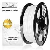 PLA Filament White, 3D Hero PLA Filament 1.75mm,PLA 3D Printer Filament, Dimensional Accuracy +/- 0.02 mm, 2.2 LBS(1KG),1.75mm Filament, Bonus with 5M PCL Nozzle Cleaning Filament