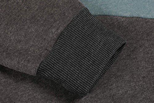 Aschoen donna felpa in cotone contrasto felpe con cappuccio felpe fba-Gray