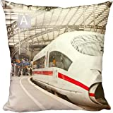 Cushion of Passengers waiting to board a highspeed ICE train in Cologne railway station