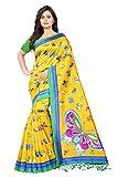Jaanvi Fashion Women's Art Silk Kalamkari Printed Saree (Yellow)