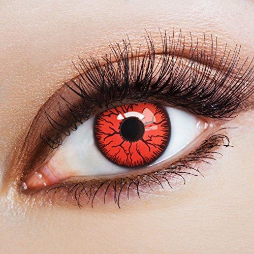 aricona Kontaktlinsen Farblinsen - deckend rote, farbige Kontaktlinsen ohne Stärke, bunte Vampir Kostüm Augenlinsen, Halloween Horror - Kostüm N Mehr