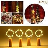 Lypumso 4 Pezzi Luci per Bottiglie 2M 20 led, Tappo Led di Bottiglie Luminose con 6 Pezzi Batteria di Ricambio