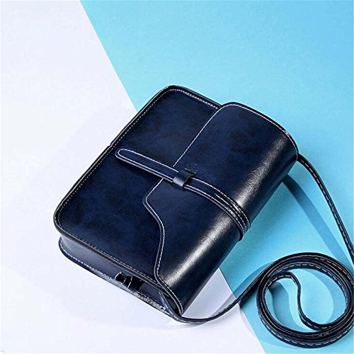 Longra Purse Vintage Borsello in pelle a tracolla Messenger Bag Blu scuro