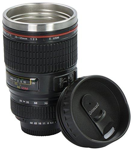 Grinscard Kaffeebecher Drink & Go Deckel - Schwarz Digitalkamera Design 0,35l - Gadget Thermotasse für Unterwegs (Vakuum-objektiv)