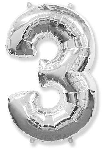 Numéro 3 argent Jumbo Ballon aluminium forme