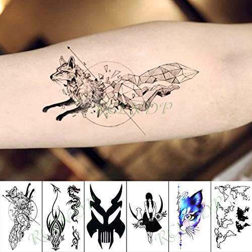 tzxdbh Wasserdicht Temporäre Tätowierung Aufkleber Run Fox Cat Moon Tier Fake Tatto Hand Arm Fuß Flash Tatoo für Kid Girl Men