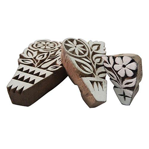 indiano a mano i blocchi di legno di figura dell'uccello arredamento casa fiore intagliato a mano insieme marrone materiale di 3 pezzi voce regalo di natale