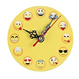 Neu Dekorative Wanduhr Wandaufkleber,Jaminy Silent Sweep Emoji Emoticon Bell Desk Creative Digitaluhr 11.0X11.0X2.0 cm (D)