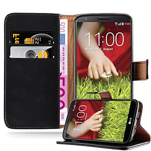 Cadorabo Hülle für LG G2 - Hülle in Graphit SCHWARZ – Handyhülle im Luxury Design mit Kartenfach und Standfunktion - Case Cover Schutzhülle Etui Tasche Book