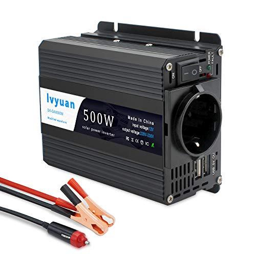 Wechselrichter 500W/Yinleader Spannungswandler DC 12V auf AC 230V/KFZ Inverter mit EU-Steckdose und 2 USB Anschlüsse inklusive Kfz Zigarettenanzünder Stecker Autobatterieclips -