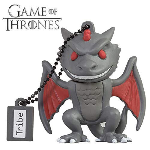 Tribe Game of Thrones Drogon USB Stick 16GB Speicherstick 2.0 High Speed Pendrive Memory Stick Flash Drive, Lustige Geschenke 3D Figur, USB Gadget aus Hart-PVC mit Schlüsselanhänger - Grau -