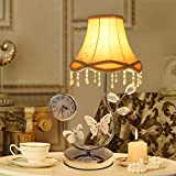 Lampara De Mesa con Reloj, Mesita de Noche LED Pantalla de Cristal Luz Decorativa Moderna Lámpara de Escritorio para Lectura y Sala de Estar Salón