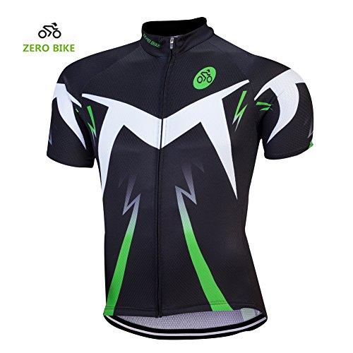 ZEROBIKE® Manica corta da uomo traspirante in bicicletta bici Jersey Abbigliamento sportivo in poliestere tessuto di alta qualità