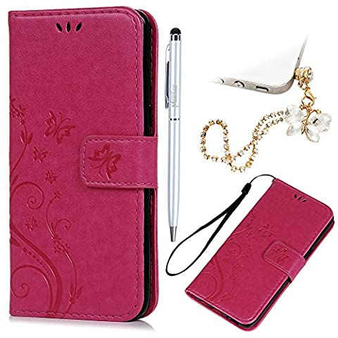 S8 Case Wallet - MAXFE.CO for Samsung S8 Case Flip Butterfly Embossed PU Leather Cover Bumper Stand Case for Samsung Galaxy S8 & One Touch Pen & One Dust Plug, Hot Pink
