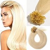 Extensiones de Cabello Natural queratina Humano de U Tip Nail Tip Pre bonded Hair Extension 0.5g/Hebras [60# Rubio Platino][16'(40cm)-50g]