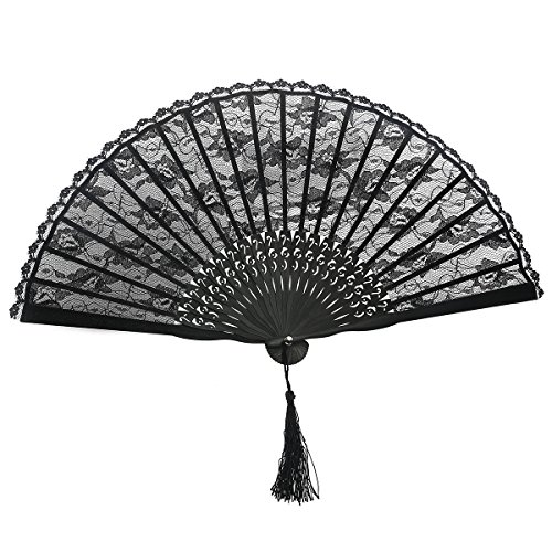Schöne Viktorianische Spitze (WINOMO Handfächer Spitze Fächer Spanische viktorianischen Handfächer für Hochzeit Mitbringsel Fancy Dress)