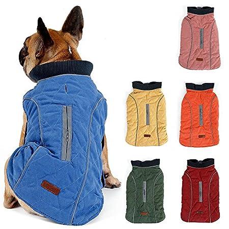 TFENG Reflektierend Hundejacke für Hunde, Hundemantel Warm gepolstert Puffer Weste Welpen Regenmantel mit Fleece (6 Farbe, Größe XS Bis 3XL)