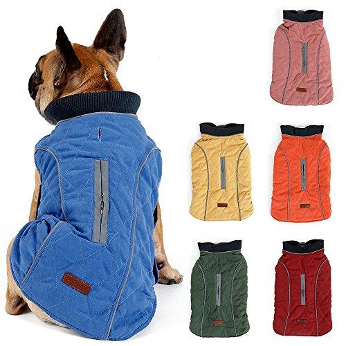 TFENG Reflektierend Hundejacke für Hunde, Hundemantel Warm gepolstert Puffer Weste Welpen Regenmantel mit Fleece (Blau, Größe XL)