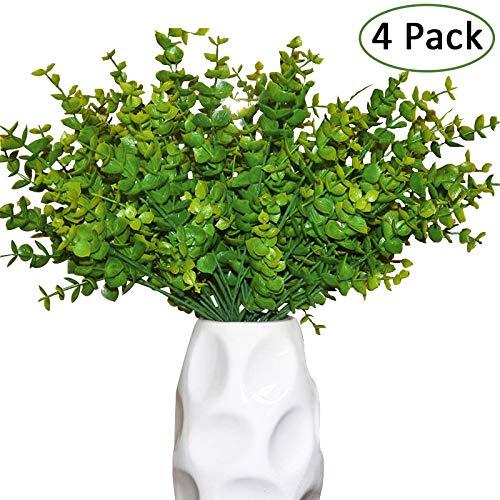 Kunstpflanzen Eukalyptus (4er-Pack) - künstlicher Eukalyptus (33cm) mit 4 Zweigen und Kunst...