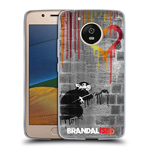 Offizielle Brandalised Liebe Ratte Banksy Kunst Farbtropfen Soft Gel Hülle für Motorola Moto G5 (Liebe Ratten)