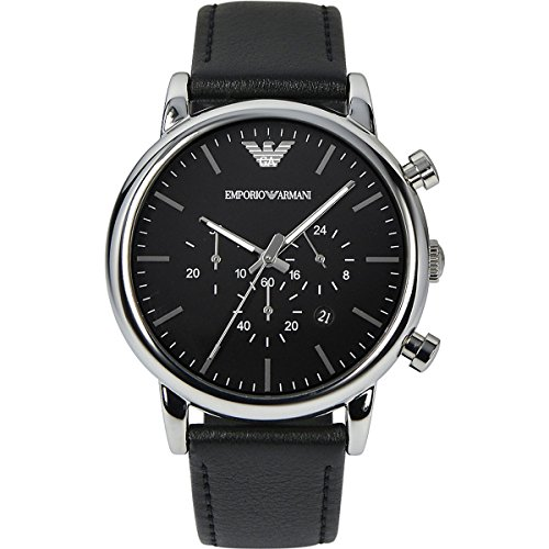 Emporio Armani Men's Quartz Watch with Black Dial Chronograph Display and Black Leather Bracelet AR1828