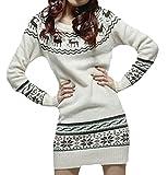 erdbeerloft - Damen Pullover Norwegerpulli Stern und Rentier Print, Weiß, One Size