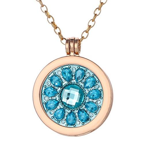 Morella Damen Halskette gold 70 cm Edelstahl und Anhänger mit Coin Blüte Zirkonia türkis 33 mm im Schmuckbeutel