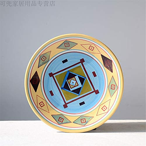 PORCN Bemalte Unterglasur Geschirr, handbemalte Geschirr, runde Keramikplatte, dekorative hängende Platte, Ornament, hängende Platte, an der Wand montiert 8,5 Zoll, A