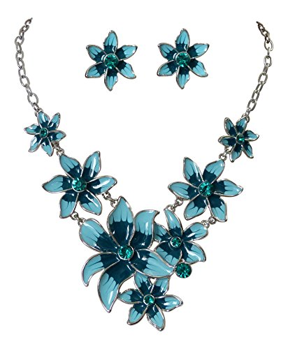 Trachtenschmuck Dirndl Collier Blüten Kristall Set – Kette und Ohrringe