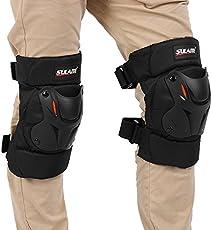 BuyWorld 1pair Thickened Knee Pad Motorcycle Cycling Knee Protector Pad Winter Skiing Sports Knee Guard Adjustable Belt Kneepad