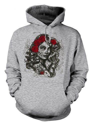 Biker Hoodie - Kapuzen Sweater Motiv: Dia de los muertos girl Größe L Farbe grau