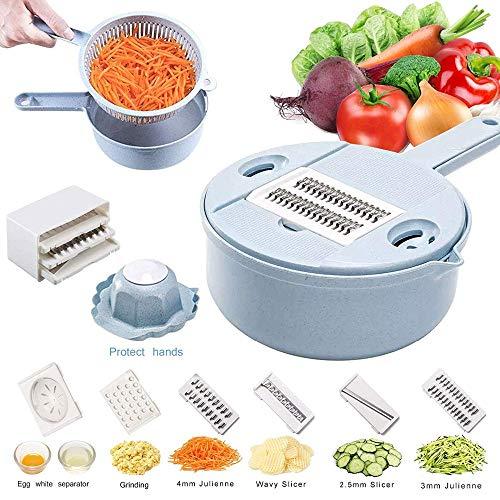 L.SMX Mandolinen Gemüse Cutter, 8 In 1 Julienne-schneidemaschine Mit Lebensmittellagerung Und Filterkorb, Gemüseschneider, Reibe Für Käse, Kartoffeln, Zwiebeln, Zucchini, Blue -