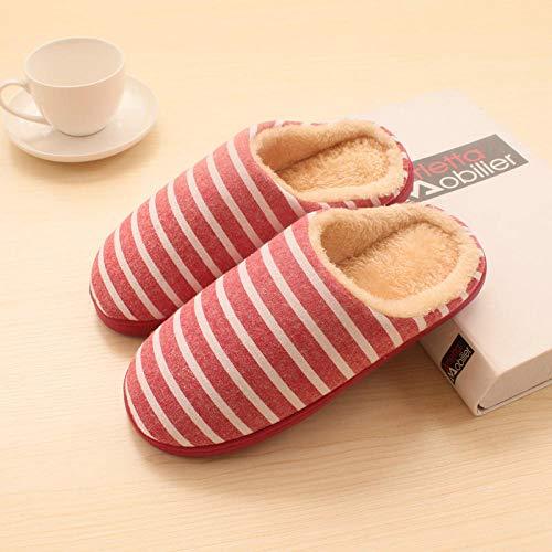 Wildleder Rot Plaid-herren Schuhe (WENSISTAR Nette Baumwolle Slipper Gummi rutschfest ,Plaid-Baumwollpantoffeln für Herren und Damen im Winter in Rot B_42-43,Warme kuschelige rutschfeste Slippers)