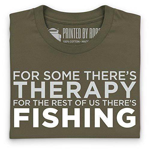 Fishing Therapy T-Shirt, Herren Olivgrn