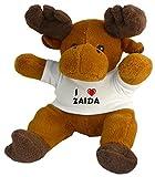 Plüsch Renntier (Rudolf) mit T-shirt mit Aufschrift Ich liebe Zaida (Vorname/Zuname/Spitzname)