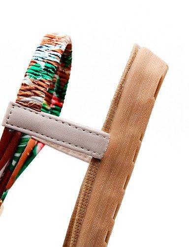 ShangYi Sandaletten für Damen Damenschuhe-Sandalen-Outddor / Kleid / Lässig-Kunstleder-Flacher Absatz-Zehenfrei-Schwarz / Beige Black