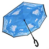 MagiDeal Windproof Reverse Folding Sun Rain Inverted Umbrella UV Protection Sky and Cloud for Beach Outddor Parts