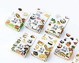 Freischneider 6Rollen Washi Tape Set Kreppband Masker für Notebook, DIY Basteln und Geschenke Deko Tape Notebook Klebeband 1,5cm Washi Tape weiß Sushi, Brot, Lebensmittel