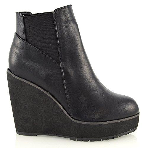 Essex Glam Damen Keilabsatz Kurzshaft Stiefeletten Plateau Chelsea Schuhe (37, Schwarz Kunstleder) (Damen Keil Winter Stiefel)