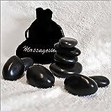 9 Massagesteine im Samtbeutel - Hot Stone Massage