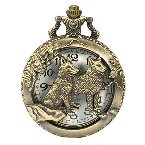 SIBOSUN steampunk wolf les loups schéma montre de poche chaîne box hollow affaire le quartz les chiffres arabes