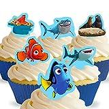 12 x Vorgeschnittene und Essbare Findet Nemo Findet Dory Finding Nemo Finding Dory Kuchen Topper (Tortenaufleger, Bedruckte Oblaten, Oblatenaufleger)