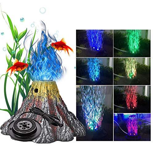 Runningfish Vulkan Aquarium deko, Aquarium sprudler Stein, Aquarium LED für Fische - 1set