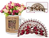 Best Gift for Valentine, Valentine Day Gifts for Girlfriend, Valentine Day Gifts for Wife Peacock Shaped Hair Clip and Valentine's Special Coffee Mug with Bunches of Peonies