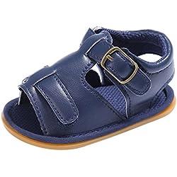 Sandalias Bebe,Tefamore Sandalias Zapatos De Cuero Artificial Bebé Niño Recién Nacido Suave Suela Antideslizante Zapatillas Primavera y Verano (13, Armada)