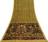 Vintage Indian Sand Gelb Saree Reine Seide Stoff Nizza