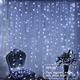 Fairy curtain Lights,window curtain icicle string lights 3*3m, 300LED Indoor Fairy Lights for Weddings, Party, Home,Window Decorations( White)